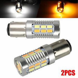 2PCS 1157 22-5730-SMD LED Turn Signal Amber/White Switchback Reverse Light Bulbs