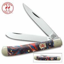 Kissing Crane Large 2 Blade Trapper Folding Pocket Knife - Cosmic Blue Handle