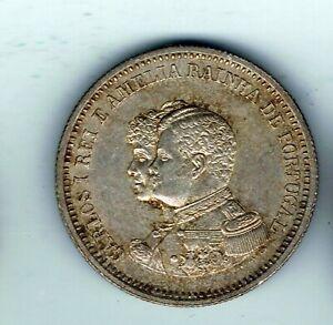 1898 Portugal 200 Reis silver coin : 5g