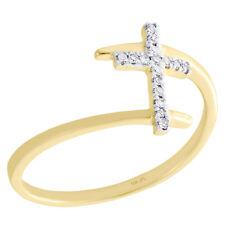 Right Hand Fashion Ring 1/12 Ct. 10K Yellow Gold Round Diamond Sideways Cross