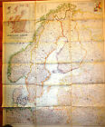Rare VTG FINLAND SWEDEN NORWAY National Geographic August 1954 NORTH EUROPE Map