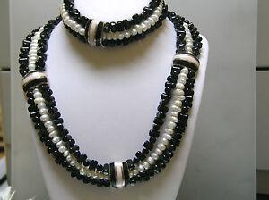 Black & White Designer inspired Onyx, Biwa, Mother pearl Necklace + Bracelet