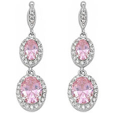 PURE ELEGANCE! DANGLE PINK TOPAZ & CZ .925 Sterling Silver Earrings