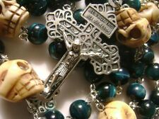 Catholic Rare Camel Bone Skull &  (peacock blue) Tiger Eye Rosary Crucifix Cross