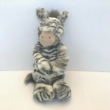 Jellycat Zebra Plush Stuffed Animal Gray Whited Striped 12""
