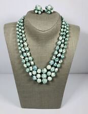 Vintage Necklace & Clip On Earrings Set Marbled Plastic Beads Stamped Hong Kong