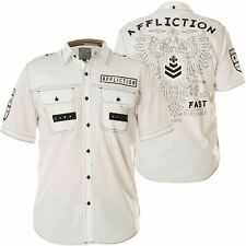 AFFLICTION Mens Button Down Shirt REFORM Embroidered WHITE BLACK Eagle $78 NWT