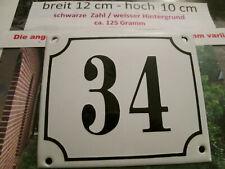 Hausnummer Emaille Nr. 34 schwarze Zahl auf weißem Hintergrund 12 cm x 10 cm