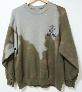 L Vtg 90s USMC Marines Green Faded Distressed Thrashed Pullover Sweatshirt Sz L