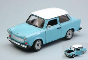 Trabant 601 1964-1990 light blue w/white roof 1:24 auto stradali scala
