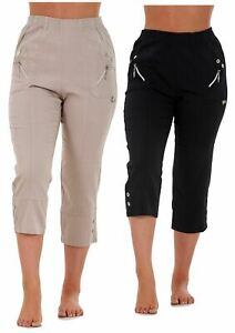 Ladies Women Cropped Trousers Rayon Elasticated Stretch Summer Capri 10 to 26