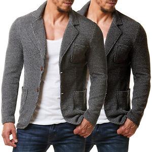 Burocs BR1685 Herren Sakko Blazer Slim Fit Jacke Meliert Grau Schwarz S-XXL