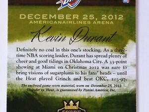 1 KEVIN DURANT 2013 PANINI COURT KINGS CHRISTMAS DAY WORN JERSEY CARD #237/299