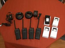 MOTOROLA CP-200 VHF PORTABLE RADIOS (4) WITH FRESH BATTERIES AND (2) CHARGERS