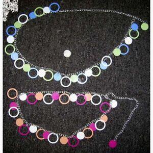 60's-70's Belt Ladies Metal Chain Multi Color Dangling Circle Groovy Hip Belt