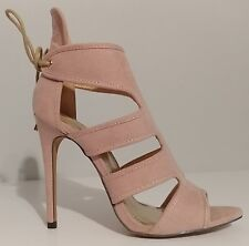 "NEW!! Liliana Beige/Nude Suede Sandals 4.5"" Heels Size 8 US 38EU"