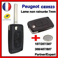 Coque PLIP Clé Pour Peugeot 106 107 206 207 407 2 Boutons CE0523 + Pile
