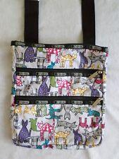 "Le SPORTSAC cats kittens multi color gray black flat crossbody shoulder bag 11"""