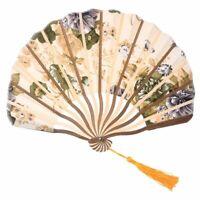 Classic style peony flower fabric bamboo folding dance hand fan beige L3J2