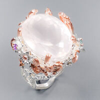 Rose Quartz Ring Silver 925 Sterling IF Quality 19x14 mm. Size 8 /R143053