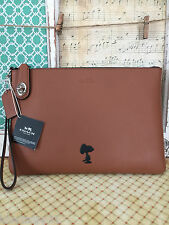 COACH X PEANUTS SNOOPY SADDLE BROWN LEATHER LARGE CLUTCH WRISTLET LIMITED NWT