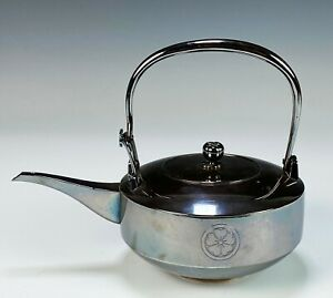 Very Fine Antique Japanese Solid Silver Teapot with Handle Signed