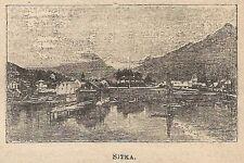 A0191 Sitka - Veduta - Stampa Antica del 1907 - Xilografia