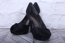 NINE WEST BLACK Satin Open Peep Toe Stiletto Court Pumps High Heels RRP £99 US 6
