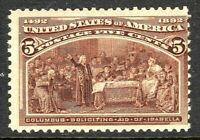 [P]   US #234 Mint-LH 1893  5c 'Columbian Exposition' Stamp...Ships Free!