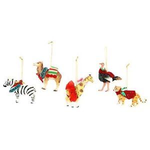 Gisela Graham Set of 5 Dressed Animals Christmas Tree Hanging Decorations 13927