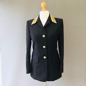 Vtg Escada Couture Jacket 80's S 8 10 Embellish Diamante Military Designer Q1