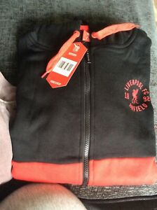 Liverpool FC Official Football Cut & Sew Hoody Black Red Size XL