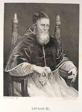 Stampa Antica Papa Giulio II Raffaello Daverio Pitti Bardi Firenze 1842