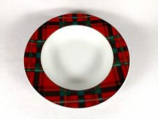 "AMERICAN ATELIER 8"" RIM SOUP BOWL -ABERDEEN-RED GREEN PLAID BORDER-3 AVAILABLE"