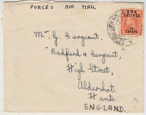1950 BRITISH FORCES in ERITREA cover *ASMARA-ALDERSHOT ENGLAND*