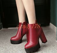 New Ladies Casual Elegant Punk Gothic Platform High Block Heel Ankle Boot Shoes