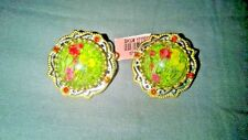 Pressed Flowers in Enamel Clip-on Earrings - ION Plated YG and Stainless Steel