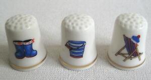 3er Set- Fingerhut- Maritime Motifs 2 - Beach- Porcelain