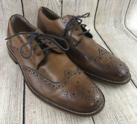 Joseph Abboud Brown Leather Oxford Wing Tip Lace Up Dress Shoes Men's Size 9