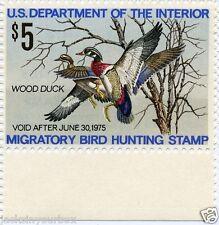 RW41 SINGLE WOOD DUCK $5.00 Yr 1974 HUNTING MNH MULTI-COLOR NC