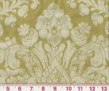 Lovely Green and Off White Damask Drapery Upholstery Fabric Ellison Green Apple