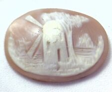 NOS Antique Hand Carved Oval Shell CAMEO Stone House Windmill & Tree Scene #N429