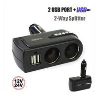 2 USB Charger Supply+2 Socket Car Cigarette Lighter Extender Splitter Free P&P