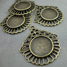 4 Round Antique Gold Bronze Cameo Frame Setting Fancy