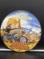 1969 VINTAGE ''HARLEY DAVIDSON'' MOTORCYCLE PORCELAIN PUMP PLATE 12 INCH