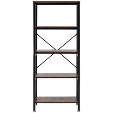 5 Tier Bookshelf Bookcase Industrial Wood Metal Storage Display Shelving Rack