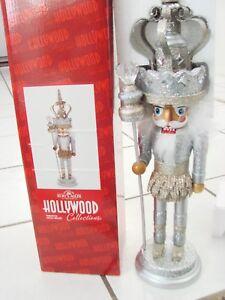 "19"" Kurt Adler Hollywood Platinum Silver Glitter King Christmas Nutcracker NEW"