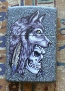 SKULLS AND GOTHIC WOLF SKULL AND FEATHER ZIPPO LIGHTER FREE FLINTS