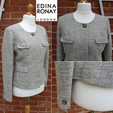 Edina Ronay Collarless Jacket Designer Beige Linen Mix UK14-16 Smart Office Work