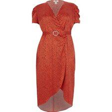 BNWT RIVER ISLAND Plus Red Heart wrap Midi Dress  Size 28 Rrp£46